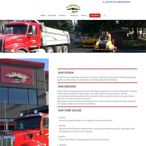 AA Asphalting, LLC. - Platform: WordPress Goals: Consultation Website re-design