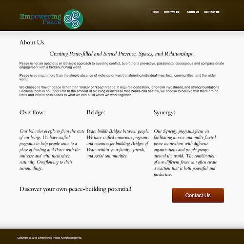 Empowering Peace - Platform: WordPress Goals: Consultation Website Creation