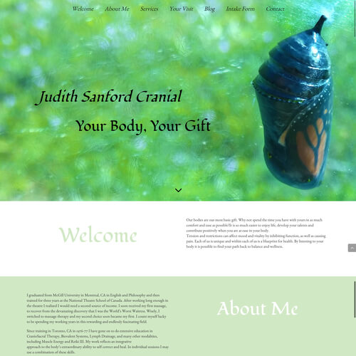 Judith Sansford Cranial - Platform: WordPress Goals: Consultation Website re-design